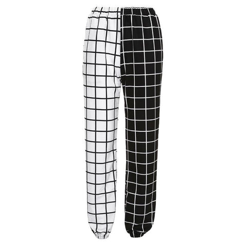 CHECKERBOARD SPLICE PANTS