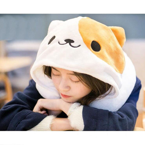 ATSUME NEKO HOODED PILLOW