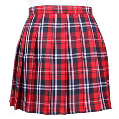 RED GRID TENNIS SKIRT