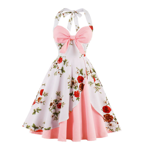 HALTER FLORAL SWING DRESS