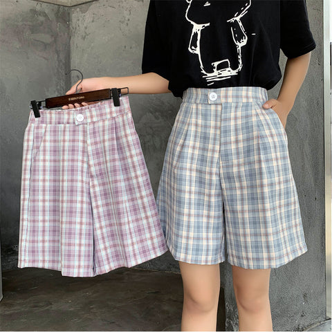 PLAID STRAIGHT FIVE SHORTS