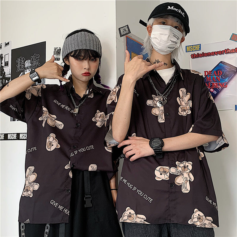 HARAJUKU BEAR PRINT LOOSE SHIRT