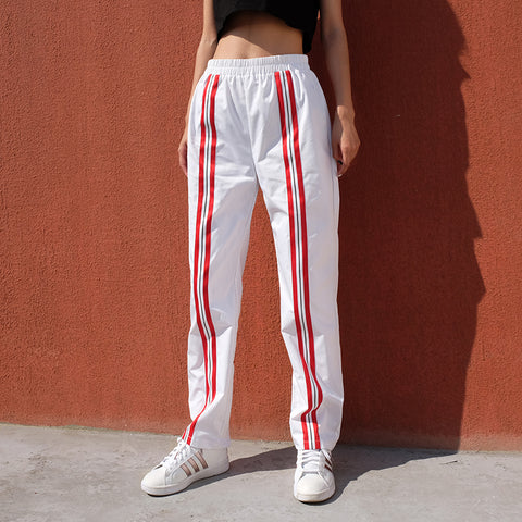 ELIZABETH RED AND BLACK STRIP PANTS