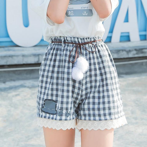 FLUFFY GRID SHORTS