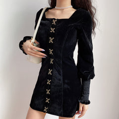 BUTTERFLY BUTTON SQUARE COLLAR RUFFLE SLEEVE VELVET DRESS