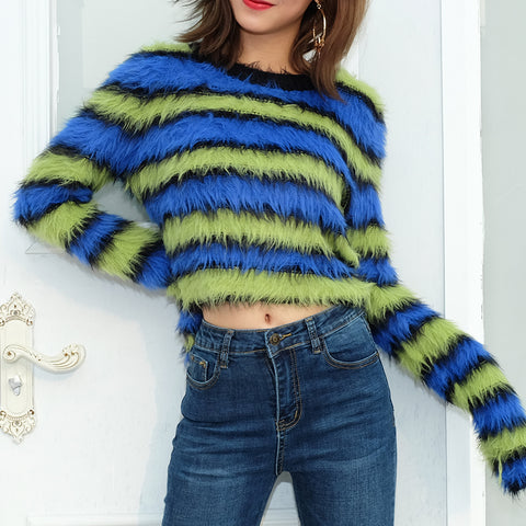 FUZZY STRIPED TOP