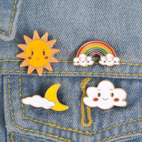 SUN MOON CLOUD RAINBOW PINS (SET/4PCS)