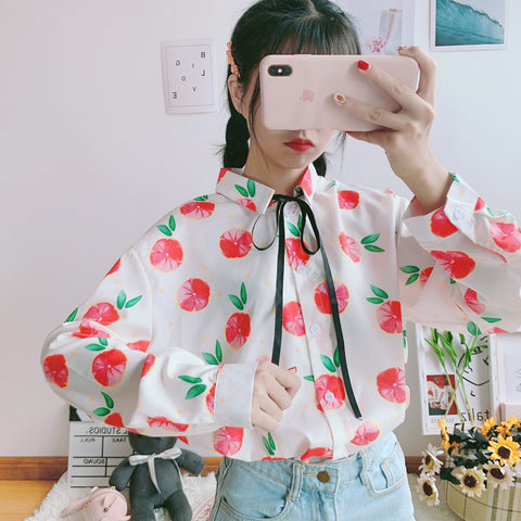 GRAPEFRUIT PRINT CHIFFON SHIRT