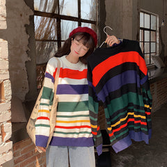 RAINBOW STRIPE CONTRAST KNITTED
