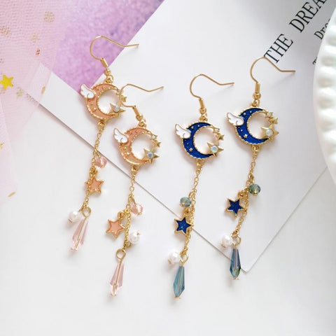WINGED MOON & STAR GLASS BEAD EARRINGS (2pairs)
