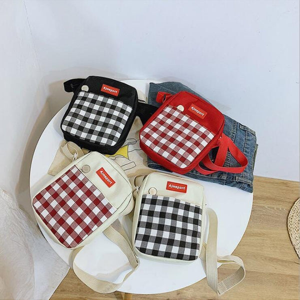 Kawaii Plaid Canvas Bag by Dog Dog