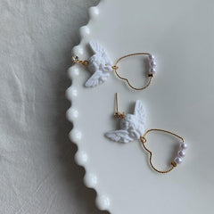 CUPID HEART PEARL EARRINGS