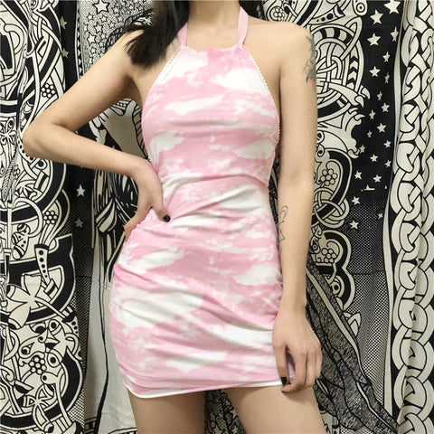 PINK HALTER CLOUD DRESS