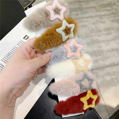 STAR PLUSH HAIR CLIP (6PCS)