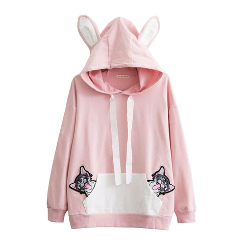 EMBROIDERY CAT HOODIE