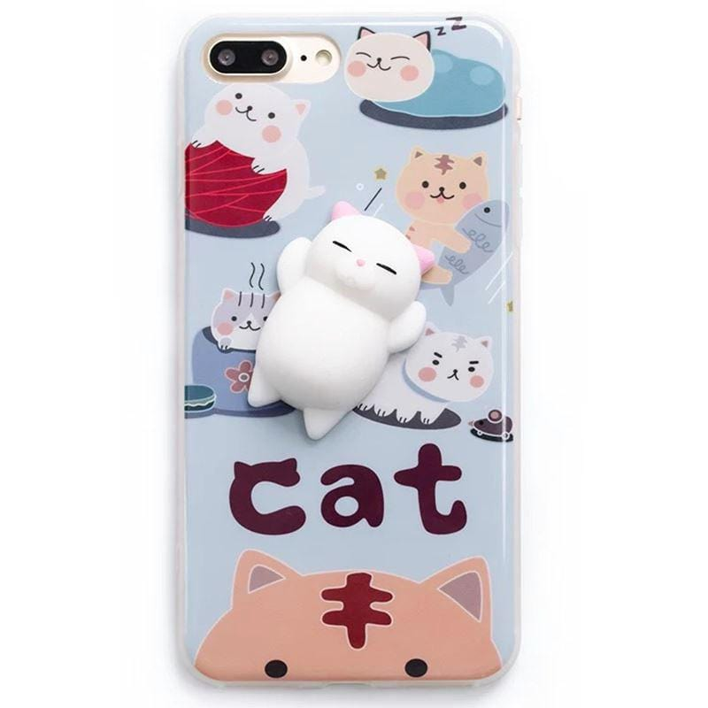 SQUISHY SLEEPING CAT CASE (I6 I6+ I7 I7+ S6 S7 S7edge S8 S8plus)