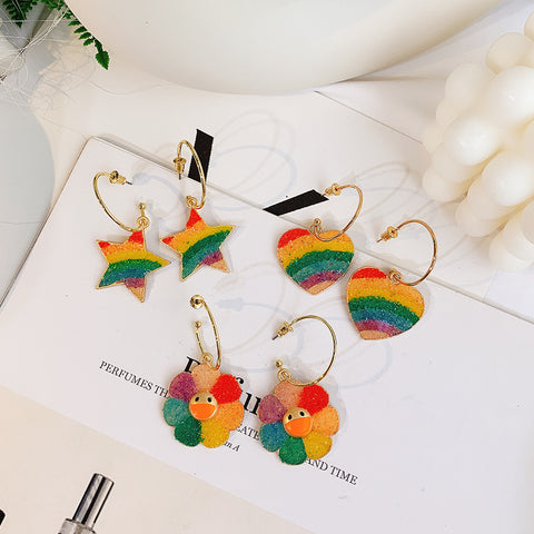 RAINBOW PENTAGRAM/HEART/FLOWER EARRINGS