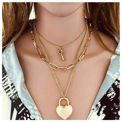 HEART LOCK PENDANT LAYER NECKLACE