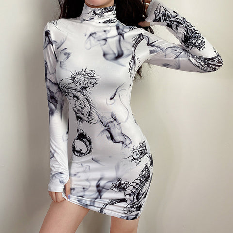 VINTAGE DRAGON PRINT INK DRESS