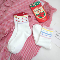 CANDY COLOR STRAWBERRY HEART SOCKS (2 pairs)