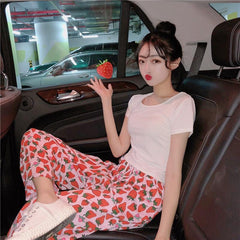 STRAWBERRY PRINTED CASUAL PANTS