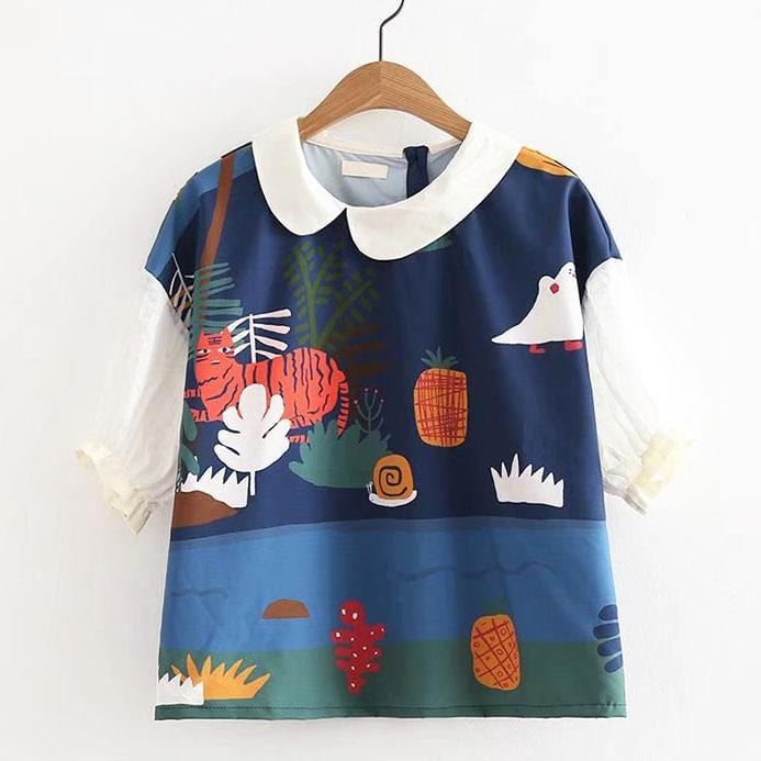 UNDER SEA CREATURE COLLARED TOP
