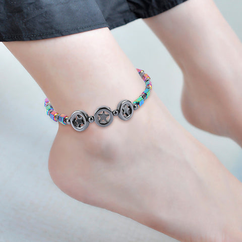 CIRCLE STAR MAGNETIC STONE ANKLET