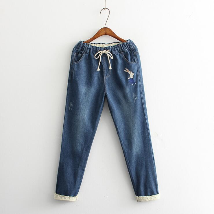 RABBIT EMBROIDERED JEANS
