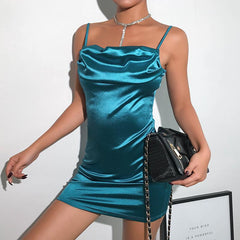 SPAGHETTI STRAP SATIN DRESS