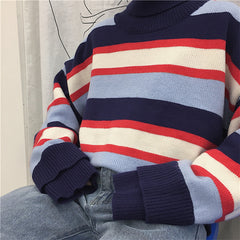 COUPLE MATCHING TURTLENECK STRIPED SWEATER