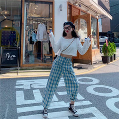 BLUE PLAID LOOSE PANTS