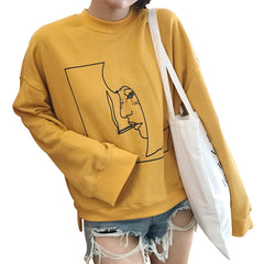 SMOKING GIRL PRINT SWEATER