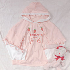 STRAWBERRY EMBROIDERED CONTRAST HOODIE