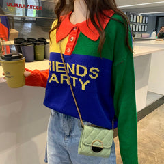 FRIENDS PARTY STITCHING COLOR POLO COLLAR SWEATER