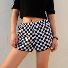 CHECKERBOARD RUNNING SHORTS