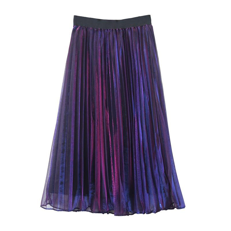 PURPLE HOLOGRAM MIDI SKIRT