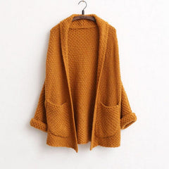 POCKETS SOLID CARDIGAN KNITTED