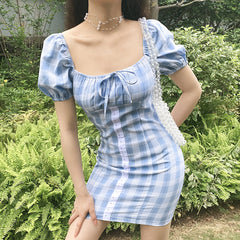 PLAID SQUARE COLLAR BUBBLE SLEEVE DRESS