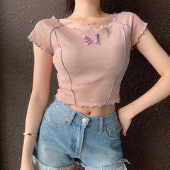 BUTTERFLY BOW FRILL CROP TOP
