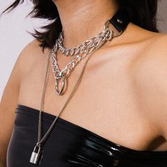 PU BELT CHAIN LOCK LAYERED NECKLACE