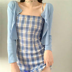 BLUE KNIT CARDIGAN AND PLAID SLING DRESS