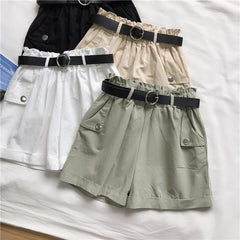 SOLID COLOR HIGH WAIST SHORTS