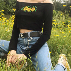 MEADOW FLORAL OFF SHOULDER CROP