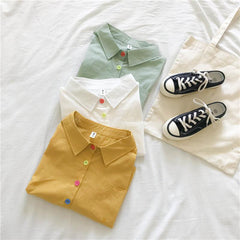 COLOR BUTTON SHORT SLEEVE SHIRT
