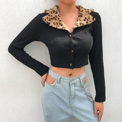 LEOPARD COLLAR LONG SLEEVE CARDIGAN