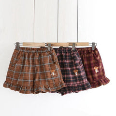 KAWAII BEAR PLAID WOOLEN SHORTS