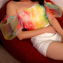 RAINBOW PUFF SLEEVE TUBE TOP