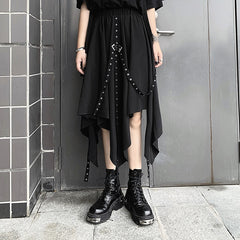 PUNK RIBBON IRREGULAR SKIRT
