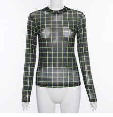 GREEN AND BLACK CUBE SHEER TOP