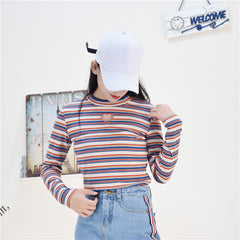HOLLOW HEART STRIPED TOP